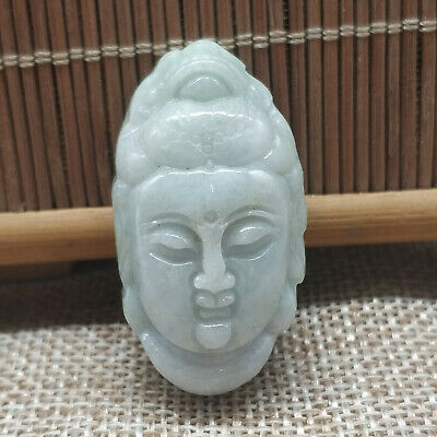 AAAAA Chinese Hand-carved aristocratic wearing Jadeite jade pendant Buddha head