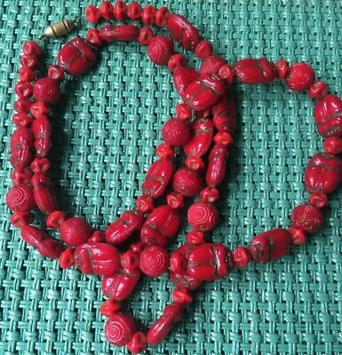 VINTAGE 20s ART DECO MAX NEIGER SCARAB BEETLE FLAPPER GLASS BEAD NECKLACE RED