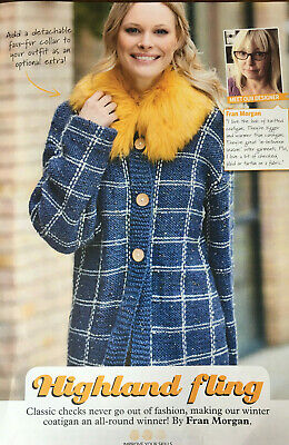KNITTING PATTERN Ladies Checked Coat Detatchable CollarSquare Stylecraft Chunky