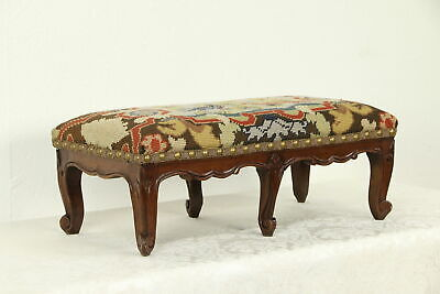 Country French Antique Carved Footstool, Needlepoint Upholstery #33023
