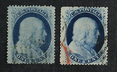 CKStamps: US Stamps Collection Scott#20 1c Franklin Used 1 Lightly Crease
