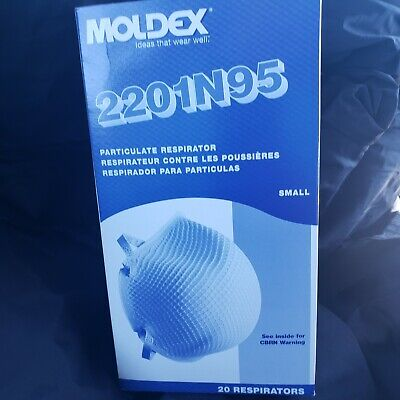 NEW 20 pc Box Moldex 2201 N95 Mask NIOSH Particulate Respirator Safety