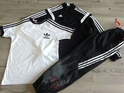 100% Adidas Boys Small Sportswear Bundle / Outfit 11-12Yrs Tops Joggers  ( Hb)