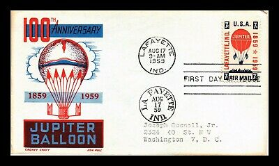 Dr Jim Stamps Us Jupiter Balloon Cachet Craft Air Mail First Day Cover Scott C54