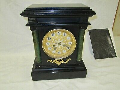 Antique Waterbury 8 Day Chiming Mantle Shelf Clock In Good Running Condition