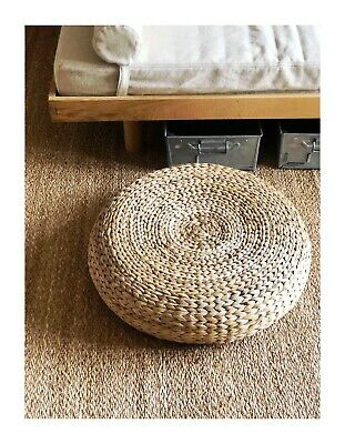 Antique Vintage / Mid Century Modern Wicker / Seagrass Wicker Stool / Footstool