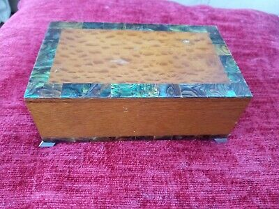 Vintage Art Deco Box Oak And Chrome And  Mother Of Pearl Inlay