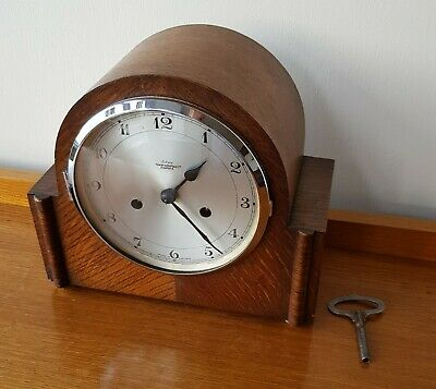 Smiths Enfield Oak Mantle Clock 8 Day With Strike Fowler & Oldfield