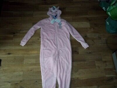 *Bnwt*M&S* Girls Size 13-14 Pink Fluffy Hooded Kids Onesey Unicorn Design *New*