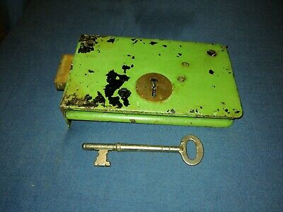 Antique Iron & Brass Flush Mounted Door Mortice Lock with Key.