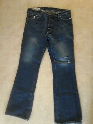 """ABERCROMBIE & FITCH Baxter B-Fly Distressed Bootcut Jeans Size 34 X 32"""""""