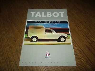 Catalogue Simca Talbot 1100 As Vf1,2,3 Et Pick Up 1981.