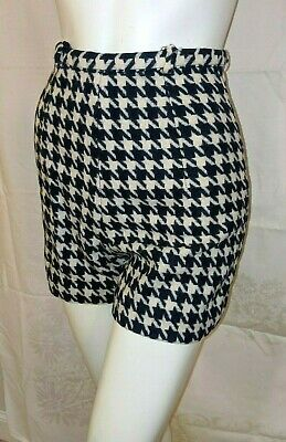 True Vintage 60s Womens High Waisted Shorts black white Maisel style