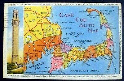 1940s Map of Cape Cod MA Different Routes, Tower