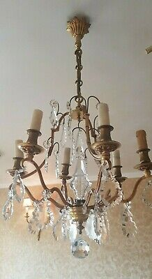 Antique Louis XV Gilt Bronze and Crystal glass French Chandelier 6 Arms - 1910s
