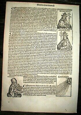 1493 INCUNABLE Ancient NUREMBERG CHRONICLE Leaf HISTORY Kings ASTRONOMY Popes