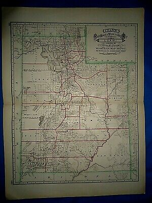 Vintage 1884 RAILROAD COUNTY MAP of UTAH TERRITORY Antique Authentic Folio Size