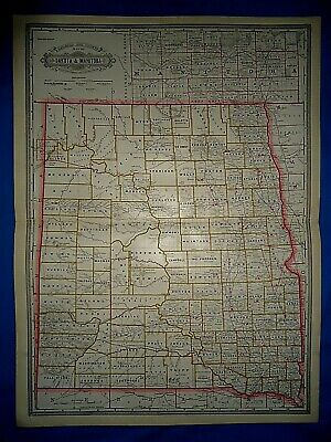 Vintage 1884 RAILROAD & COUNTY MAP DAKOTA TERRITORY MANITOBA Antique Folio Size