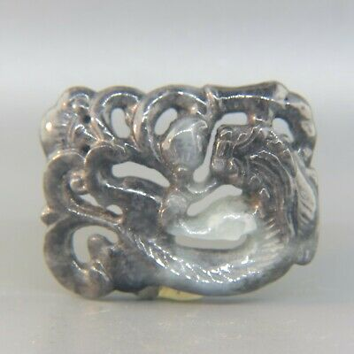 Chinese Carved Jade or Hard Stone Pendant w. Dragon & Blossom,