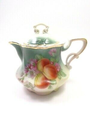 Antique Victorian Era Porcelain Creamer With Lid Peach & Floral Pattern European