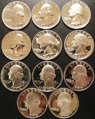 1968-1979 S Washington Quarter Proof Run 11 Coin Set US Mint  minor issues