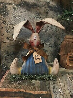 *Primitive 10x8IN BUNNY W/FEET ON BASE  Fabric  HANDMADE Country old rusty doll*