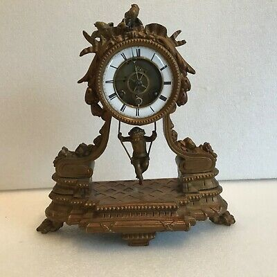 French swing movement clock Victorian and rare