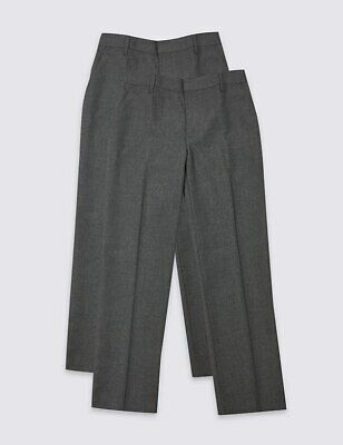 Marks & Spencer 2 Pack Boys' Slim Leg Trousers Age 11-12 Years BNWT £18.50 Grey