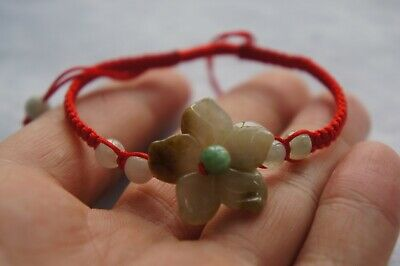 100% Natural Hand-Carved Jade Bead Pendant Hand Knit Red Rope Bracelet 花开富贵手绳
