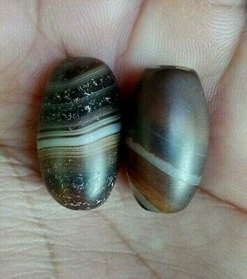 Pair Of Antique Old Agate Stunning Layers  Natural Stripes Single Eye Bead