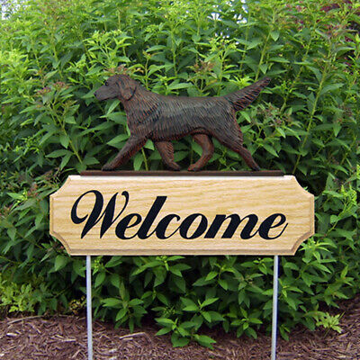 Flat Coated Retriever Wood Welcome Outdoor Sign Liver