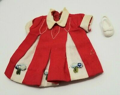 Penny Brite Doll Vintage Red White Dress 1960s Deluxe Reading Corp and One Shoe