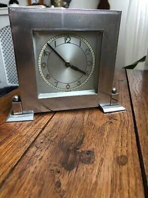 Old Small Chrome Mantel Desk Clock Decorative /Art Deco