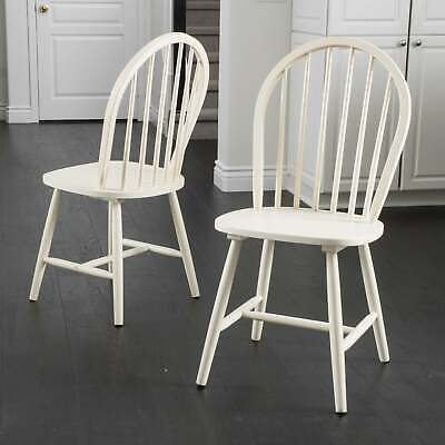 Countryside High Back Spindle Wood Dining Chair (Set of 2) Antique White