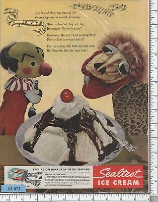 """SEALTEST ICE CREAM KUKLA FRAN OLLIE Puppet Man Cave Metal Sign 9x12/"""" A287"""