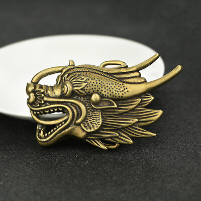 China Antique Collection Brass Dragon Head Belt Buckle Accessories