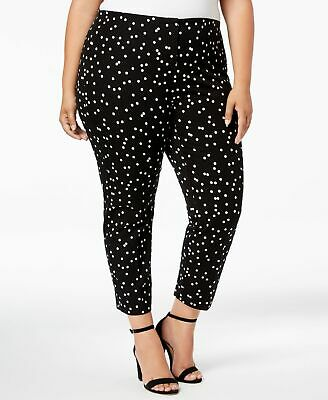 Alfani Womens Pants White Black Size 18W Plus Ankle Dot-Print Stretch $84 362
