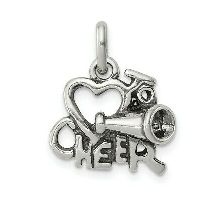 West Coast Jewelry Sterling Silver Polished Antiqued I Love Cheer Pendant