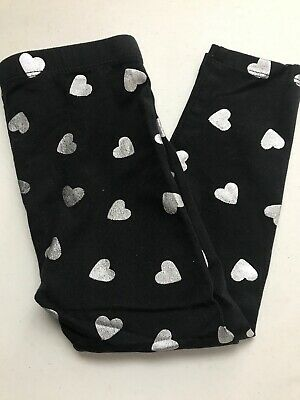 The Childrens Place Black & Silver Heart Leggings (4)