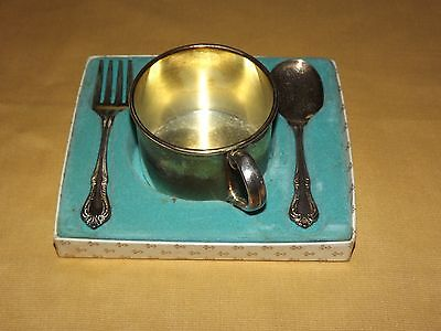 Vintage Oneida Baby Toddler Child Cup Fork & Spoon Feeding Set