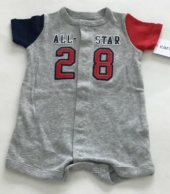 Nwt Carter's Baby Boys All-star Snap-up Cotton Romper Size 6 Months
