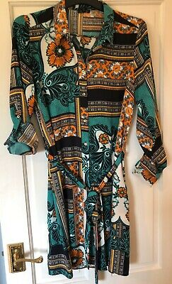 Ladies River Island Aztec Print Belted Shirt Dress Work Blouse Outfit Size 10 Uk