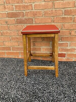 Vintage Mid-Century Wooden & Red Vinyl Kitchen Stool Retro Mid-Century Home Oak