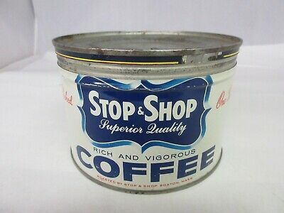 Vintage Stop & Shop  Brand Coffee Tin Advertising Collectible Graphics  769-Q