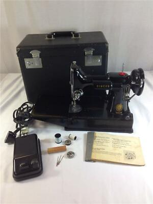 Vintage 1955 Singer Featherweight 221 Sewing Machine With Manual And Case