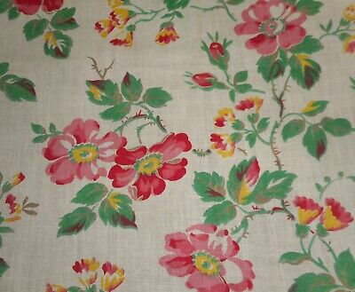 Antique French Dogwood Floral Cotton Fabric Slender Curtain ~ Pink Yellow Green