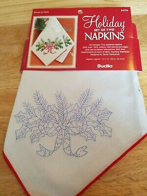 """New Bucilla """"Doves & Holly"""" Stamped Embroidery Napkins - Set of 2"""