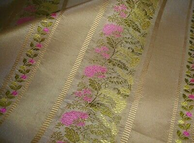 Vintage English Floral Lisere  Light Silk Brocade Jacquard Fabric ~ Green Pink