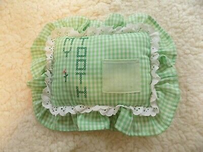 Tooth Fairy Pillow ~ Green/White Gingham ~ Handmade ~ Vintage