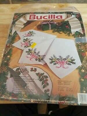 """New Bucilla """"Doves & Holly"""" Stamped Embroidery Napkins - Set of 4 with thread"""